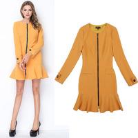 Hot Sale New Brand Desigual Women Autumn Dresses Long Sleeve Zipper Casual Dress Femininos Vestidos Branco Free Shipping W7025