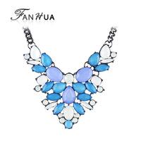 Blue Colorful Created Gemstone Jewelry Bohemian Opal Necklace Female Wholesale