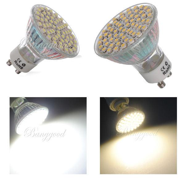 Hot Sale 6x GU10 3528 1210 SMD 60 LED White/Warm White Spotlight Spot Lights Bulb Lamp 220V Energy Saving Free Shipping(China (Mainland))