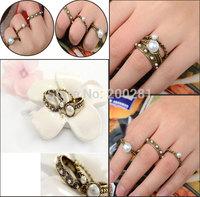 3Pcs/set Fashion Vintage Pearl Ring Set For Women Retro Bronze White Pearl Finger Rings Set Lady Pearl Wedding Rings Gift