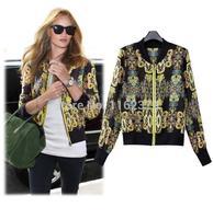 New 2014 High Street Spring Summer Jackets Women All-Match Chiffon Short Jacket Slim Long-Sleeve Vintage Printed Coat Jackets