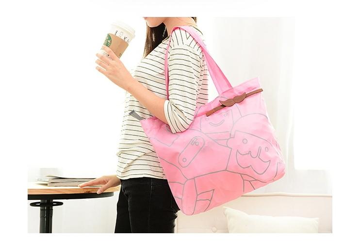 SMILE MARKET Free Gift 40.5*46.5cm High quality Folding Bearded Portable Environmental Shopping Bag(China (Mainland))