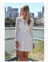 Top Sale Promotion Autumn Europe and America Women's lace dress Ladies chiffon Heart Casual dresses white 2016