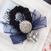 Popular Full Rhinestone Ball  Hair Bands Super Flash Block Crystal Hair Ribbon Lace Bow Headdress Hair Accessories Hair Jewelry
