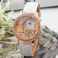 Hot Sale Women Eiffel Tower leather watches, Stereo anaglyph dial Wristwatch Dress Quartz Watch