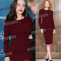 Plus Size S-XXL 2014 New High End Fashion Autumn Winter Women Elegant Ruffles Long Sleeve Celebrity Bodycon Pencil Party Dresses