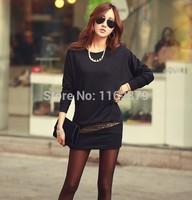 Free shipping Woman Winter Dress  Casual waist splicing sequins bat sleeve package buttocks dress