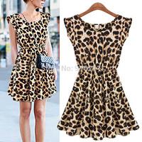 New Fashion Womens Summer Casual Pleated Leopard Print Dress Sundress Crew Neck Cap Sleeve Mini Club Dresses 2016 Drop Shipping