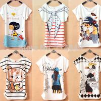 Fashion women's t-shirt Short Sleeve fashion women tees Cotton Cartoon bear O-neck tops
