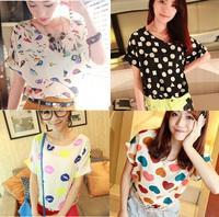 2014  Quicker Shipping Hot Sale Shirts New Women colorful Chiffon T shirt Loose Blouse Tee Tops W51