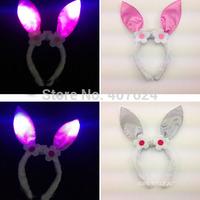 5PCS/Lot  Latest 2015 Plush soft Rabbit Ears Headband Christmas lighting bunny ear heandband 4colors