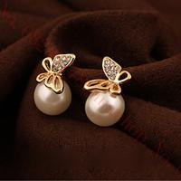 Imitation pearls Butterfly Elegant Lady Temperament Refinement brincos earrings women double pendientes ears boucle doreille