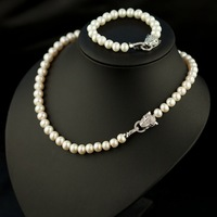 Cheetah Heads Pearl Jewelry Set Natural Pearl Bracelet&Real Pearl Necklace Fashion Women Pearl Jewelry Set Christmas Gifts