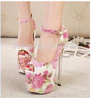 New listing 22CM high heels and 12CM high platform flower peep toe pumps,size 35,36,37,38,39,40,41,42,43