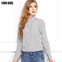 Free shipping 2014 autumn new  women's black wave point chiffon  big yards long-sleeved shirt