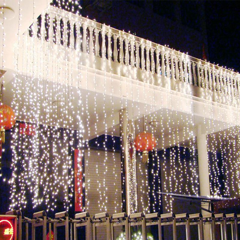 Romantic 110v 220V EU/US Plug 10M*3M 1000 LED string Christmas lights Icicle Lights curtain light Xmas Wedding Party Decorations(China (Mainland))