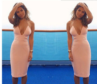 Free Shipping Fashion 2014 Sexy v-neck straps tight package hip dress Party dress Vestidos Evening Dresses