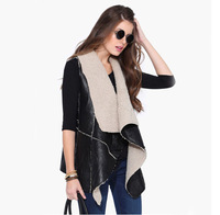 Winter Clothes Fashion Brand Elegant Cardigans Women 2014 Black Sleeveless Contrast Apricot Lapel Wool Aztec Outerwear