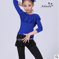 2014 Girls Latin Dance Dress Children Slim Samba Dance Dress Kid Long Sleeve Pant Dress Blue Red FC220