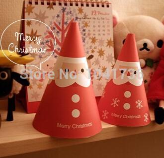 2014 Cartoon Christmas Greeting Cards Kawaii Cartoon Standing Santa Pattern 10pcs/Lot Gift Card Christmas Decoration Gift(China (Mainland))