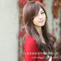 Wholesale wig oblique bangs big wave long hair repair face portrays girls fluffy simulation real shot jiafa