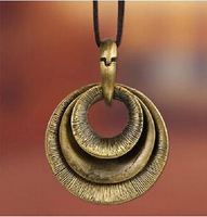 High quality low price man necklace  men's retro multilayer circle long leather necklaces wholesale necklace punk