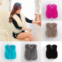 Brand newWomen Faux Fur Waistcoat Winter Jacket Coat Fluffy Outerwear Sleeveless Vest