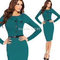Plus Size S-XXL 2014 New European Fashion Autumn Winter Women Elegant Slim Long Sleeve Celebrity Bodycon Party Evening Dresses