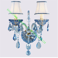 High quality Fashion crystal lamp candle wall lamp entranceway Sky blue crystal bedside wall light 2 bulb lighting fabric shade
