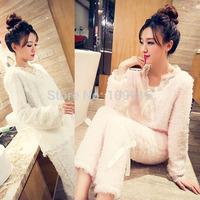 Brand newWomen Warm Thermal Lambswool Pajamas Set Top&Pants Long Lace Bow Nighty