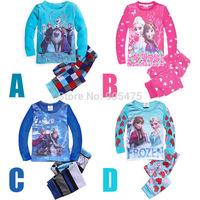 wholesale kids planes pajamas set long sleeve FROZEN Elsa and Anna girl girls pyjamas suit  6 sets/lot hjkjk01