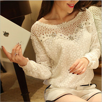 New Arrival Ladies Fashion Loose Sweet Chiffon Shirt Slim Long-sleeved White Blouse Hollow Out Lace Printed  Shirt 10301