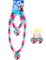 Retail wholesale Frozen Necklaces + bracelet + earring jewelry set,colorful Chunky bubblegum beads pandent kids/girl's necklace