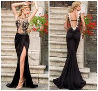 High Fashion Cheap Split  Black Satin with Lace and Appliques Mermaid Evening Dresses Sexy Backless Evening Dress to Party