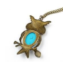 Retro turquoise crystal eyes owl necklace pendant jewelry