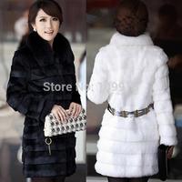 Brand newWinter Warm Womens Fur Coat Belt Long Jacket Rabbit Fur Collar Snow Overcoat