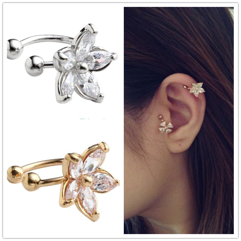 Christmas jewelry gift women's flower crystal earring clip one piece Korea style crystal fashion clip earring ear cuff wholesale(China (Mainland))