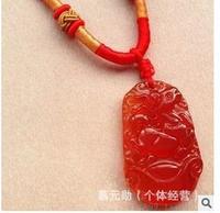 ---- Jade pendant genuine opening of natural red agate pendant Zodiac