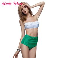 2015 women retro high waist bikini set bandeau flounce top swimwear cropped biquini vintage swimsuit bodysuit moda praia
