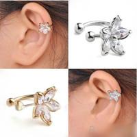 1PC New Fashion 2014 Women's Punk Luxury Gold Tone Earring Crystal Flower Ear Cuff Warp Clip Earrings for Women Jewelry