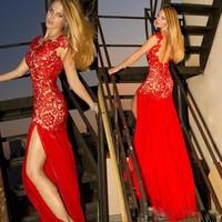Sexy Backless Romantic Lace Cap Sleeve Red Chiffon vestido de fiesta Evening Dresses Plus Size Cheap Evening Dress For Woman