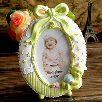 6inch green bear resin oval photo frame for baby Kid presentes picture frame