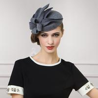 2014 new winter wool hats for women ladies dance elegance small flower wool hat no brim brand designer black gray