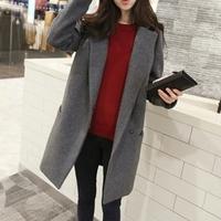 Woolen 2014 Winter Woolen Coat Fashion Trench Woolen loose plus size clothing Black Grey medium-long outerwear Thick overcoat