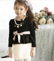 New High Quality Formal Lady Fleece Bow Dresses , Princess Elegant Patchwork Clothing Wholesale 5 pcs/lot, Free Shipping