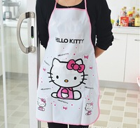 10pcs/lot Hello Kitty Aprons Waterproof PE Kawaii Adult Women Lady's Kitchen Cooking Pinafores Aprons Cartoon Novelty