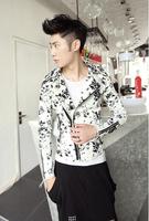 2014 New Arrival British Fashion Men Temperament Type Ink Floral Hair Stylist Slim Fit Short Jackets