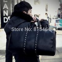 Rivet decoration black color PU leather men fashion handbags free shipping,Motorcycle designer brand men messenger bags