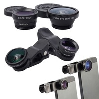 Universal 3in1 Clip-On Fish Eye Lens Wide Angle Macro Lens For iPhone 6 5 4 Samsung