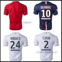 A+ 100% Top 14/15 Ibrahimovic Soccer Football Jersey Lucas Cavani T.Silva Chandal Camisa De Futbol Maillot De Foot David Luiz